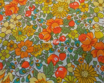 Flower and berry, in orange, 1/2 yard, pure cotton fabric