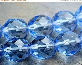ON SALE 8mm Sapphire Blue Czech Glass Beads   -16 inch strand