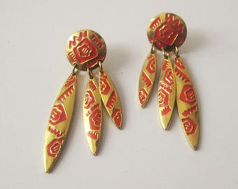 Vintage Berebi Earrings / Tribal Earrings / Boho Earrings / Vintage Designer Earrings