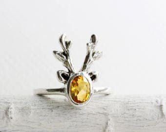 Reindeer Ring,Citrine Sterling Silver Ring,Deer Fine Jewelry,MADE TO ORDER