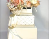 Private Listing for LuAnn - Gold Blush  Wedding Card Holder Secure Lock Silver Three Tier Card Box With Slot Elegant Reception Card Box