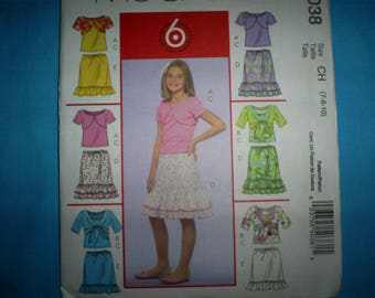 McCalls 5038 Girl's Size 7-8-10  Skirts and Tops..