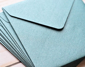 Mini Envelopes - Blue Metallic // Set of 10 // Blank Cards // Gift Card Envelopes // Advice Cards // Love Note // Square Envelopes