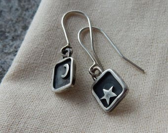 Silver Star and Moon Drop Earrings