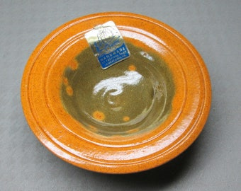 Jamestown Festival Park VA pottery small bowl with most of it's original label