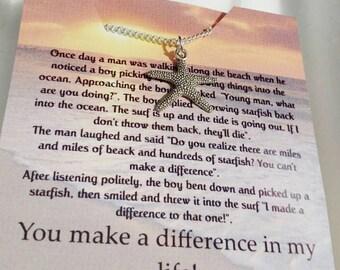 Gift for her  jewelry  birthday gift starfish necklace starfish jewelry