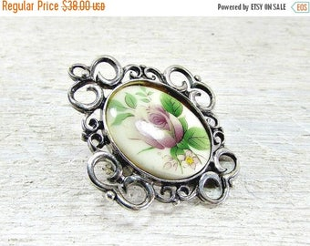 SALE Vintage Rose Cameo Brooch Pin, Sterling Silver Filigree Brooch Pin, 1970s Romantic Jewelry, Mothers Day, Gift for Mom Grandma, Somethin