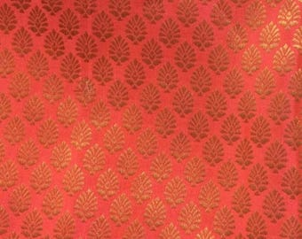 15% off on One yard of Neon Pink and Gold  Indian brocade fabric in a flower motif design