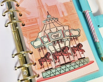 Personal Size Watercolor Coral Pink Teal Carousel de Paris Unicorn Carrousel De Paris Laminated Dashboard Filofax Kikki k Planner