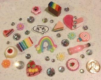 Naughty rainbow Decoden kit collection multicolor tones rainbow rhinestones kawaii phone case decoration colorful NSFW