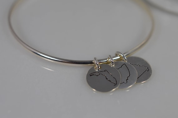 Sterling Silver State Charm Bangle Bracelet - Choose from all 50 states!