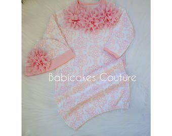 Newborn Girl Take Home Outfit, Pink Baby Gown & Hat, Pink Damask Baby Gown and Hat Set, Pink Baby Outfit, Newborn Photo Outfit, Pink Layette