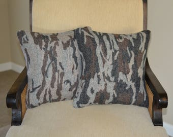TWO Camo Camouflage Hunting Lodge PILLOW COVERS shams cases Outdoorsy rustic cabin decor handmade of pendleton fabric decorative pillows
