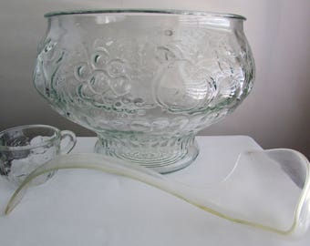 Jeanette fruit patterned glass punch bowl with 9 punch cups and Lucite ladle