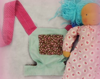 handmade reversible waldorf doll/ baby doll / teddy sling carrier (pink and brown mini vintage floral, duck egg blue, pink polka dots)