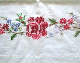 Vintage Hand Embroidered Pillowcases, Red Roses, Standard Size