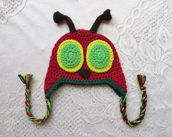 Crochet Bug Hat with Dark Brown Antenna - Winter Hat or Photo Prop - Available in Any Size or Color Combination