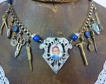 ROSIE the RIVETER  patriotic USA  vintage  assemblage antique necklace