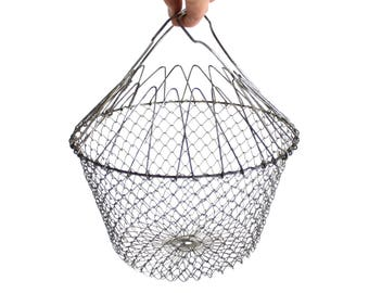 Wire Egg Basket Collapsible Metal Salad Shaker Fruit Produce Carrier Food Photography Prop
