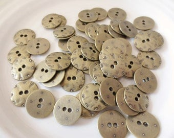 """Antique Gold Metal Buttons  3/4"""" Set of 28 Two Hole Flat Industrial Design 19mm"""