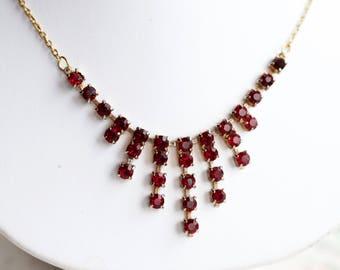 Garnets Bib necklace - Short Necklace with drop Deep Red Stones