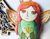 SALE! 20% OFF!! Christmas Angel Ornament Hand Painted Embroidered Celtic Cloth Doll