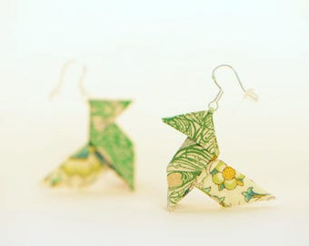 Sterling silver origami earrings green Liberty