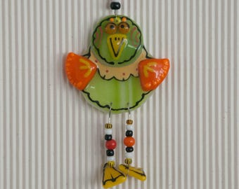 Crazy Long Legged Bird Fused Glass Ornament