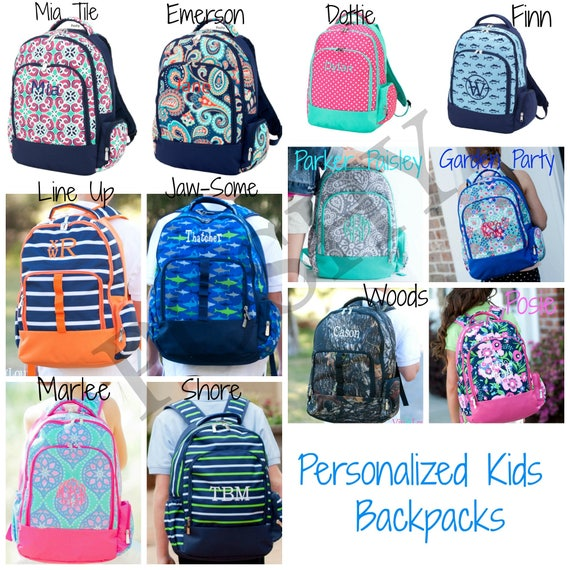 Monogrammed Kids Backpack Personalized Backpack Back to