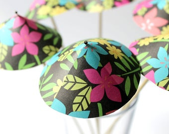 Tropical Flower Drink Umbrellas, Drink Toppers, Summer Party