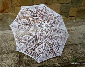 Crochet Lace Umbrella, Beach Wedding Accessories, Victorian Umbrella, Crochet Parasol, Wedding Decorations, Tulip Umbrella, Bridal Umbrella