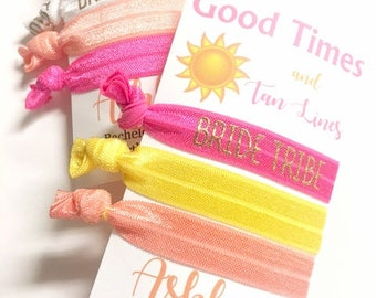Bachelorette Party Favors, Bachelorette Hair Ties, Bride Tribe Party Hair Tie, Team Bride Bachelorette Party, Good Times and Tan Lines,