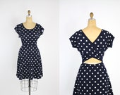 80s Navy blue and white Polka dot Dress / Open Back Dress / Nautical / Fit and Flare Dress /Size M/L