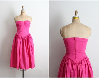 80s Bubble Gum Strapless Dress / 1980s Dress / Pink Dress / Day dress / Cotton Dress/ Size XS/S