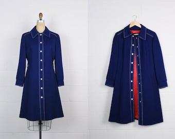 60s Mod London Fog Coat / Polka Dots Coat / Navy blue Jacket / 1960s Raincoat / Mod / Trenchcoat /Size S/M