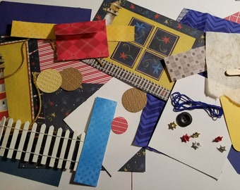 Lighthouse Themed Inspiration Kit  / Mixed Media Collage Kit-Junk Journal-Crafting Pack-Paper Ephemera-Scrapbooking