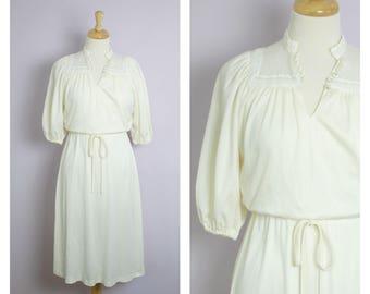 Vintage 1970's Cream Lace Yoke Midi Dress M