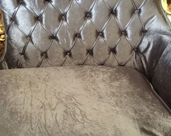 Silvery Tufted Velvet Sofa Rococo hand carved wood. Interior Design.