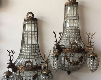 Deer head stag sconces. One pair available. Bow detiails. Interior design. FigHouseVintage