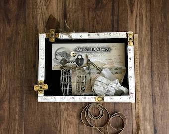 Assemblage Art, Secretary, Assemblage Artist, Vintage Secretary, Vintage Papers, Vintage Ruler
