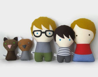 Handmade Personalized Family with cats. Plush doll. Custom your own family. Customize.