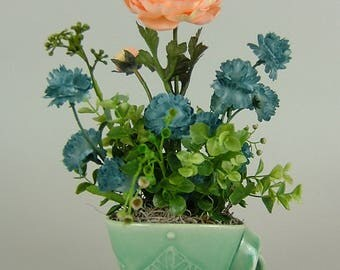 Handmade GREEN CUP with Twisted Handle with Artificial Plant / Large Orange Flower