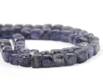 SUMMER SALE Iolite Micro Faceted Cube Beads 2 Indigo Blue Semi Precious Gemstone