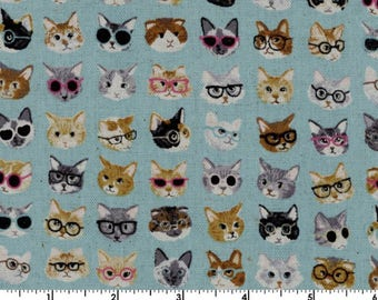 Animal World - Cat Blue - Linen Canvas from Kokka