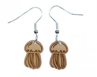 Qualle Ohrringe Miniblings Hänger Holz LC Tier Meer Ozean Meerestier See Küste
