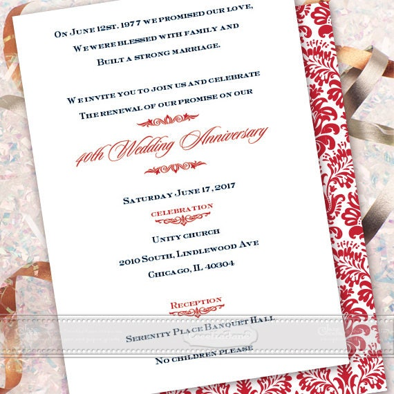 wedding invitations, 40th anniversary party invitations, cherry red wedding invitations, double sided invitations, red damask, IN465