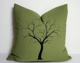 Forest Green Black Custom Tree Screenprint Home Decor by HomeLiving Size 18x18