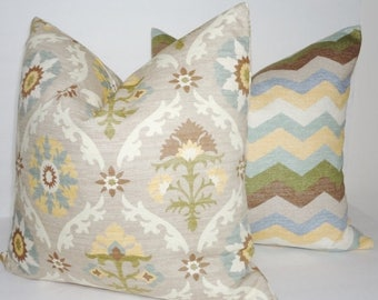 FALL is COMING SALE Waverly Myan Medallion Pebble & Panama Wave Pebble Pillow Covers Decorative Pillow Size 18x18