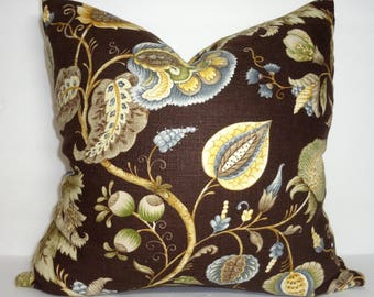 Dark Brown Powder Blue Green Beige Gold Floral Pillow Cover Home Decor by HomeLiving Size 18x18