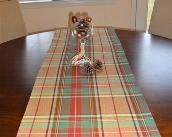Green & Tan Plaid Table Runner Home Decor Paid Christmas Table Runner Table Decor 12x72